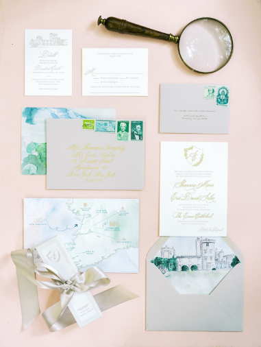 wedding stationary for destination wedding in ireland pink and grey wedding invitation colors