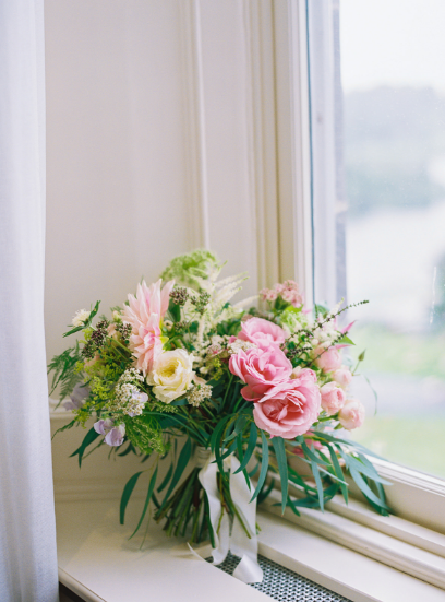 green light pink and yellow spring bridal bouquet