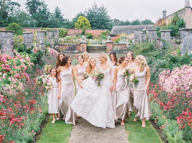 bridesmaids wearing blush bella bridesmaids dresses to spring wedding in ireland