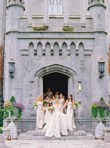 bridesmaids wearing blush dresses to ireland