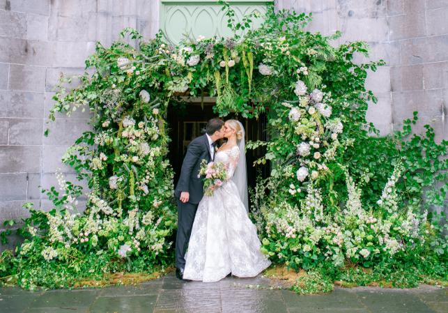 wedding floral arch lace monique lhuillier lace ball gown