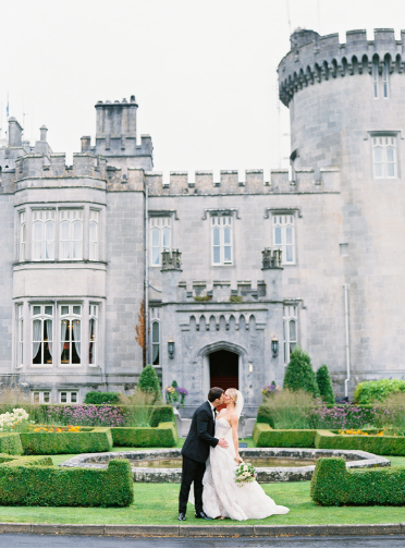 couple at wedding in ireland at castle in county clare ireland