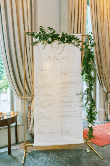 seatting chart for luxury wedding white gold and greenery