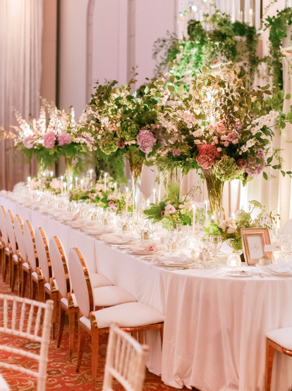 tablesetting at wedding reception in ireland with white gold and greenery details