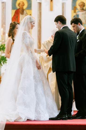 wedding ceremony at ennis cathderal bride wearing monique lhullier