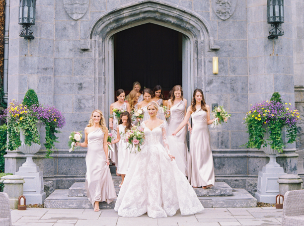 bridesmaids and monique lhuillier bride at ireland wedding at ennis cathedral
