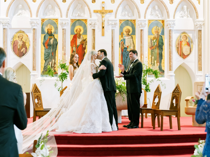 bride and groom at ennis cathedral in ireland luxury wedding