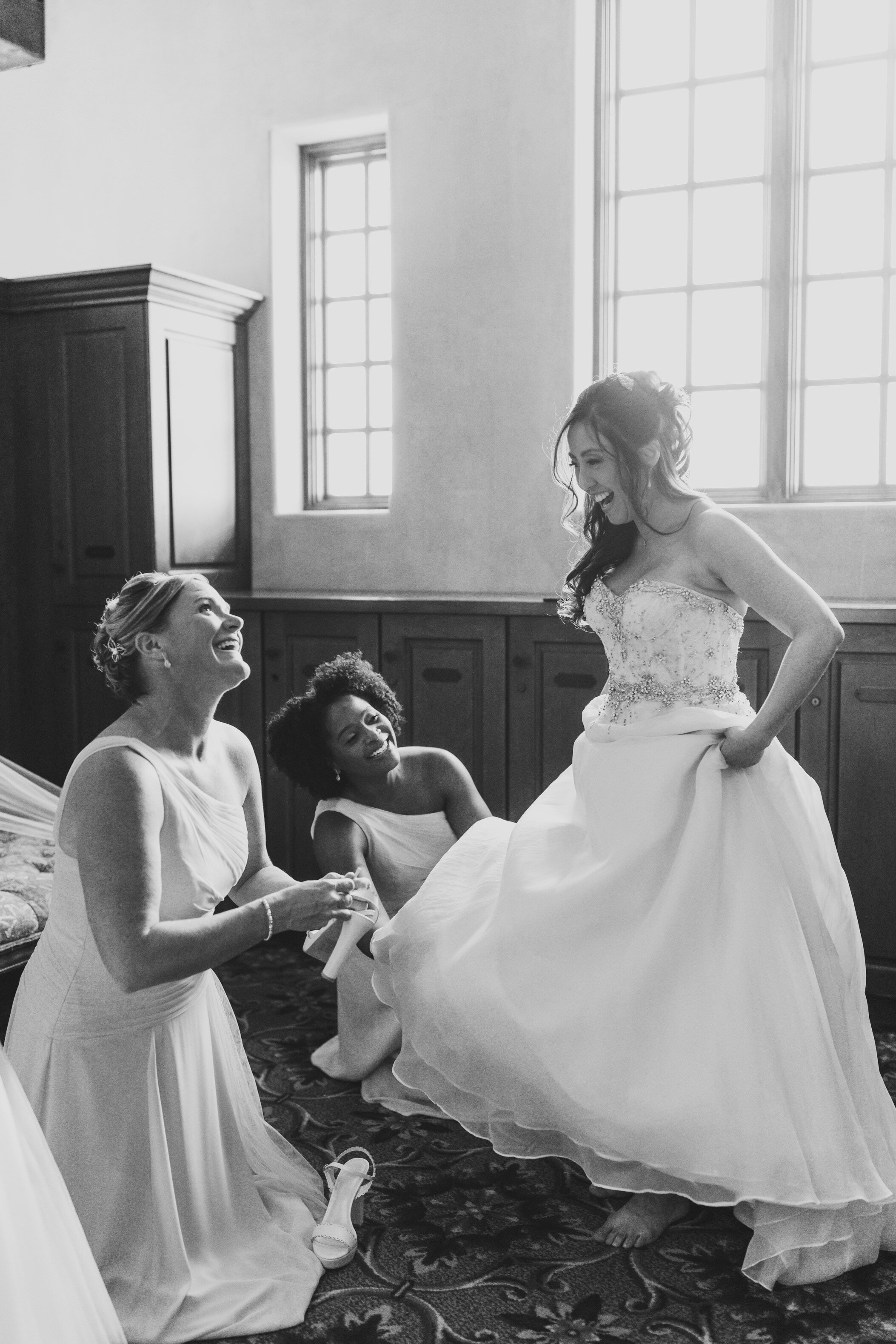 bridesmaids at bella collina wedding march wedding anne barge gown