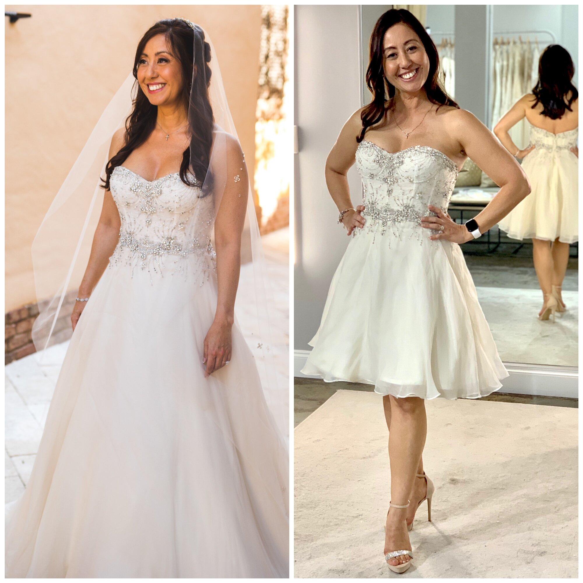 short wedding dress altered short anne barge ball gown