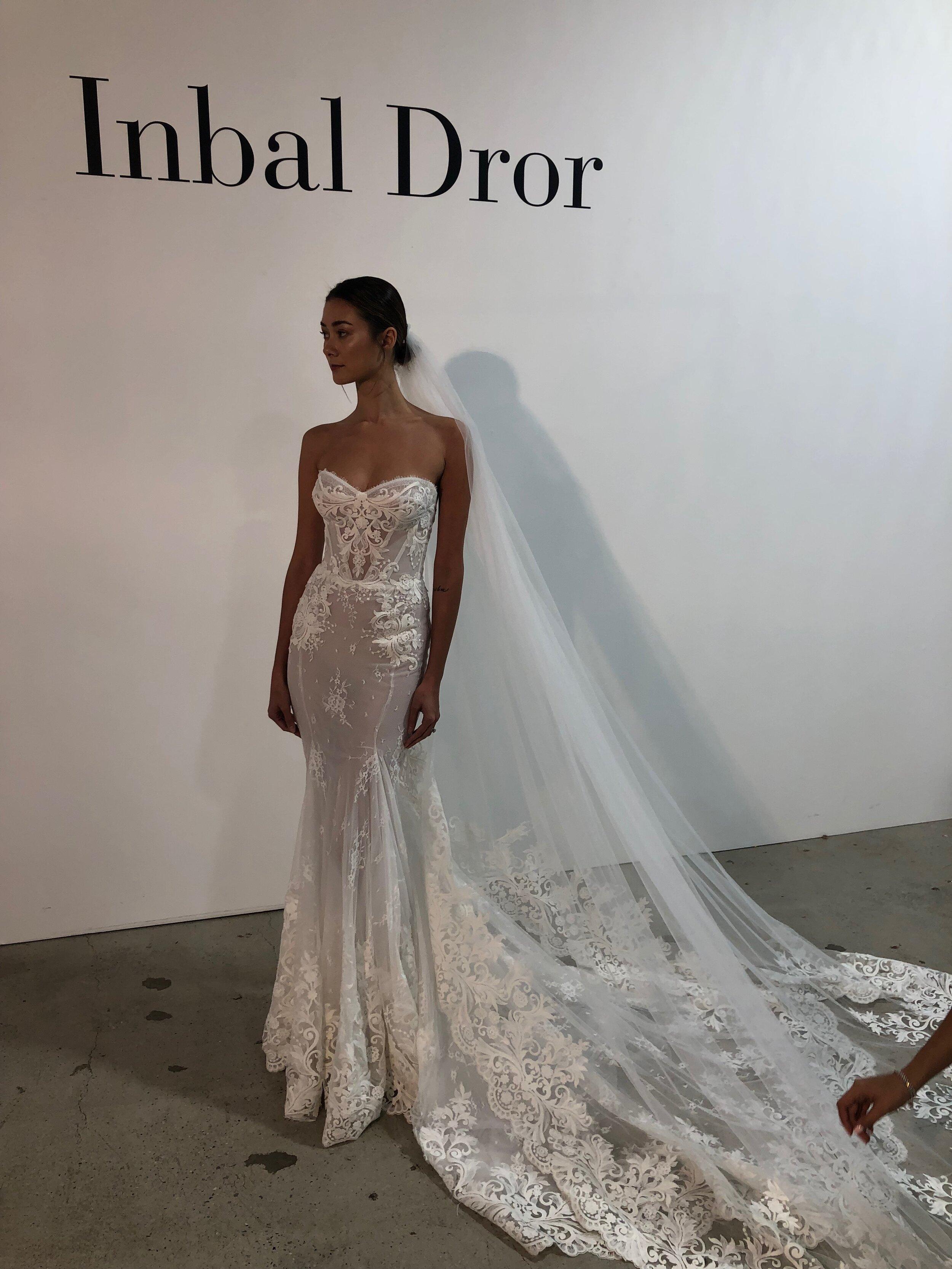 Inbal dror lace mermaid gown fall 2020