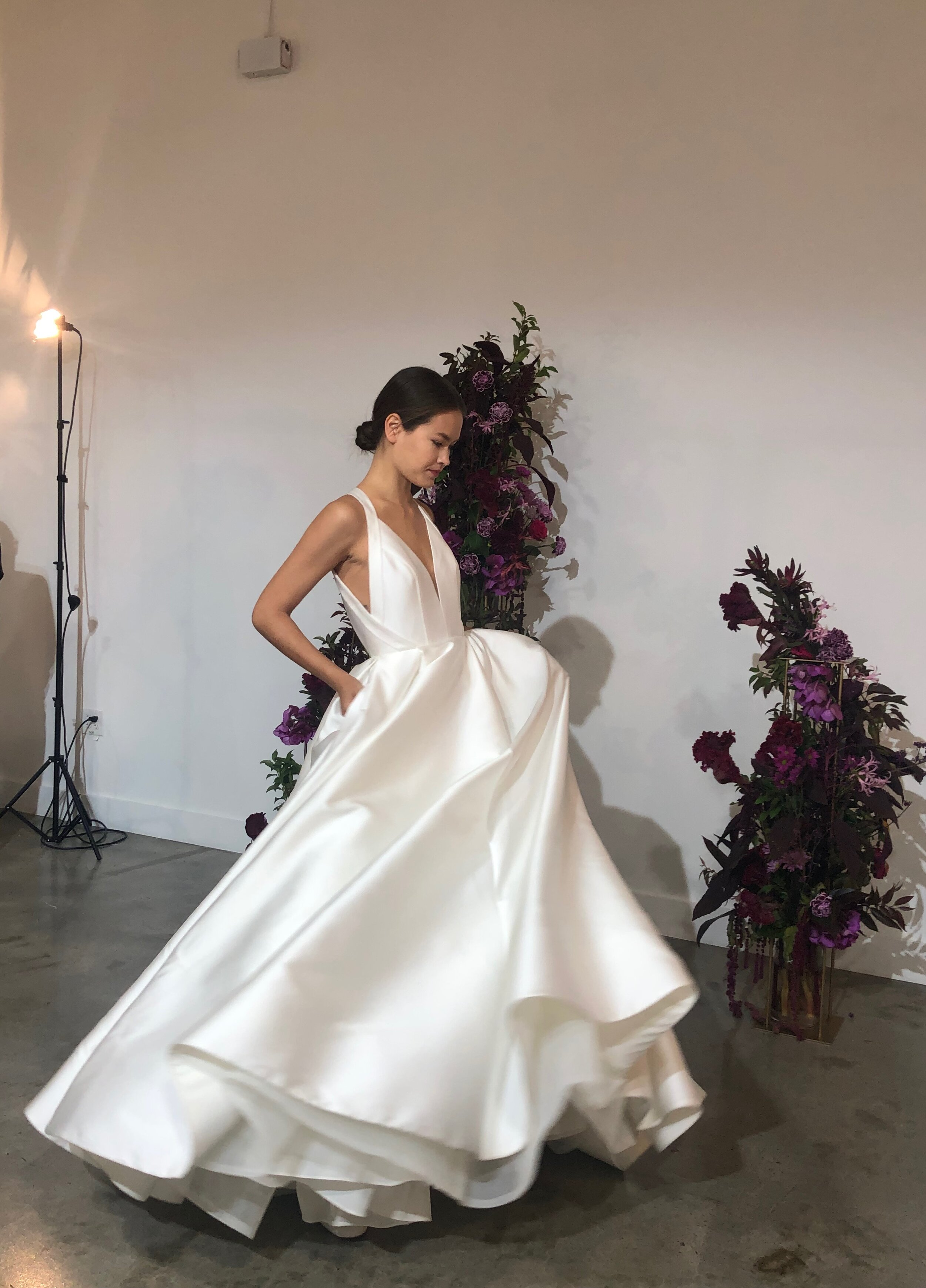 anne barge wedding gown ball gown silk mikado gown with plunging neckline and low back fall 2020 collections