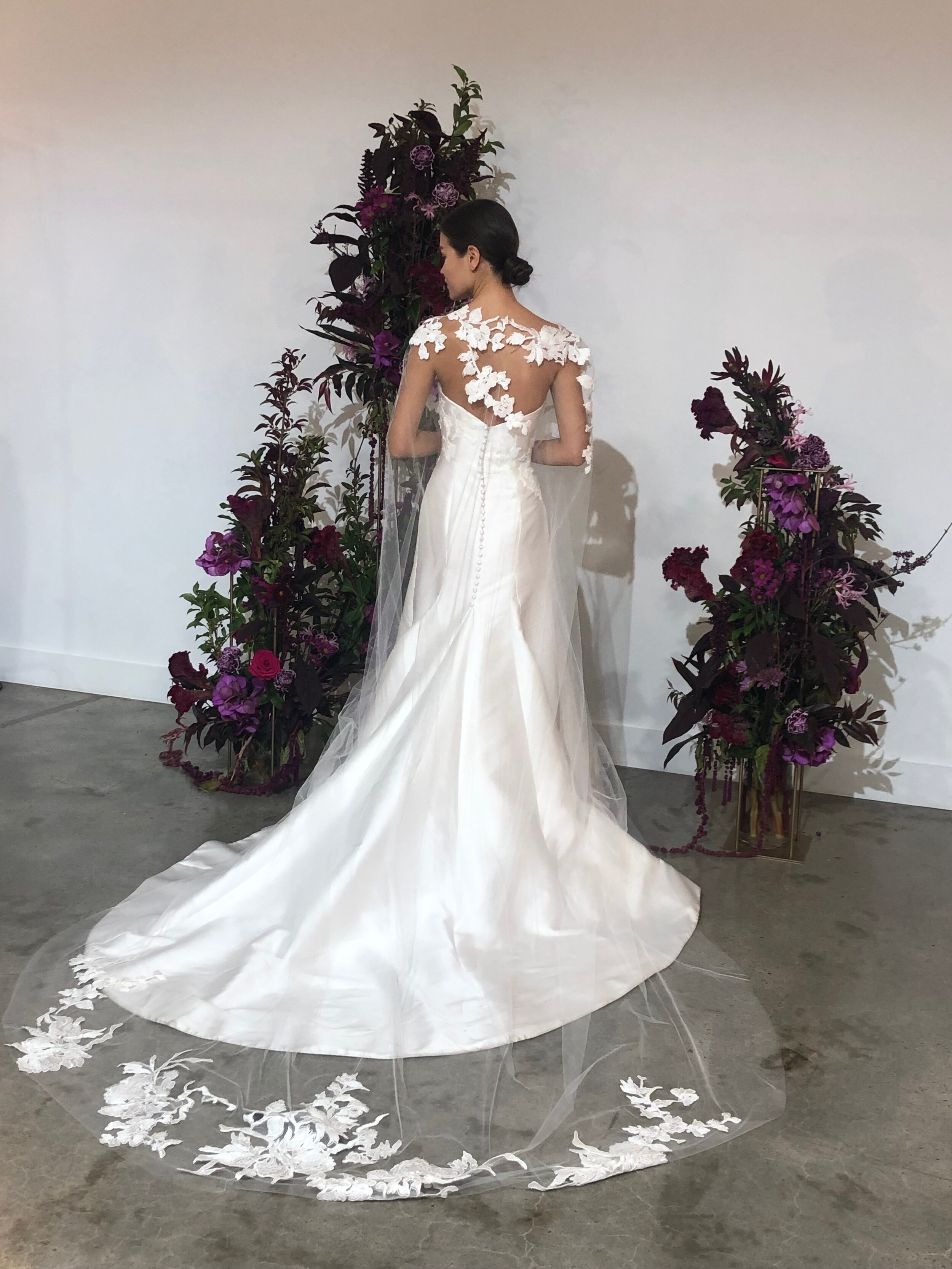 anne barge gown with lace and tulle bridal cape from new york bridal fashion week fall 2020 collections