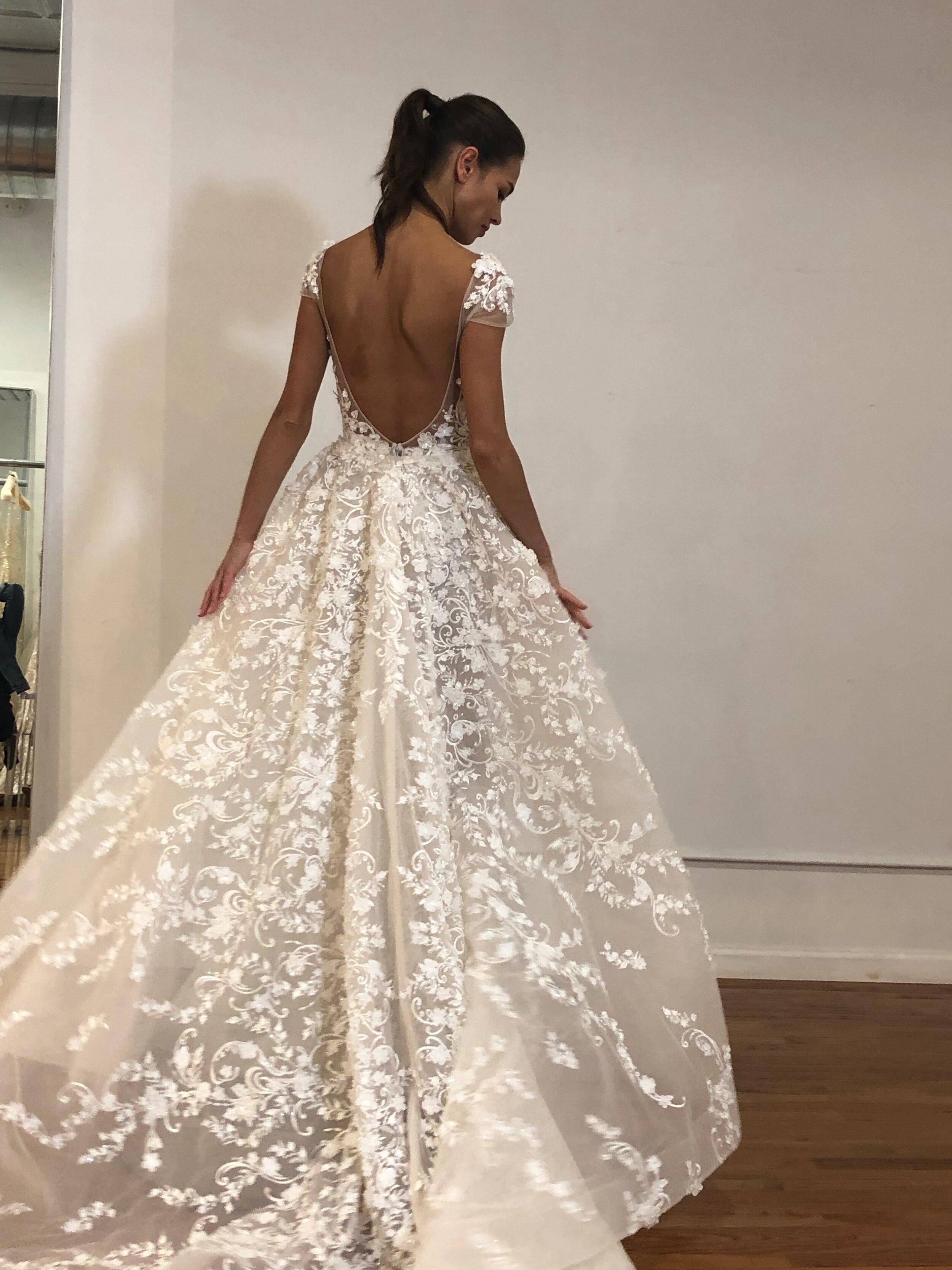 lace ball gown low back berta fall 2020 new york bridal fashion week