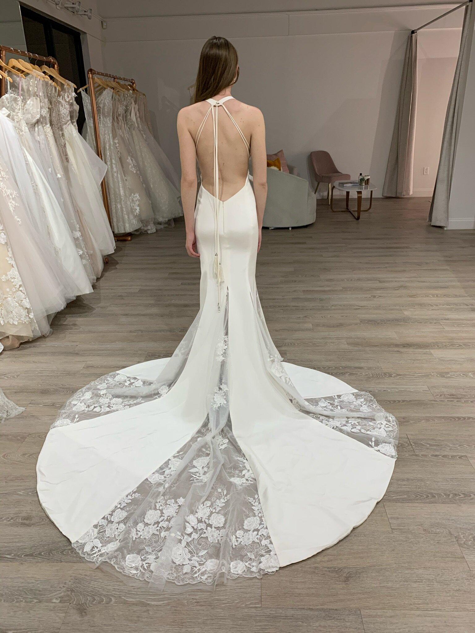 Ines Di Santo Low Back Crepe Wedding Dress in Orlando, FL