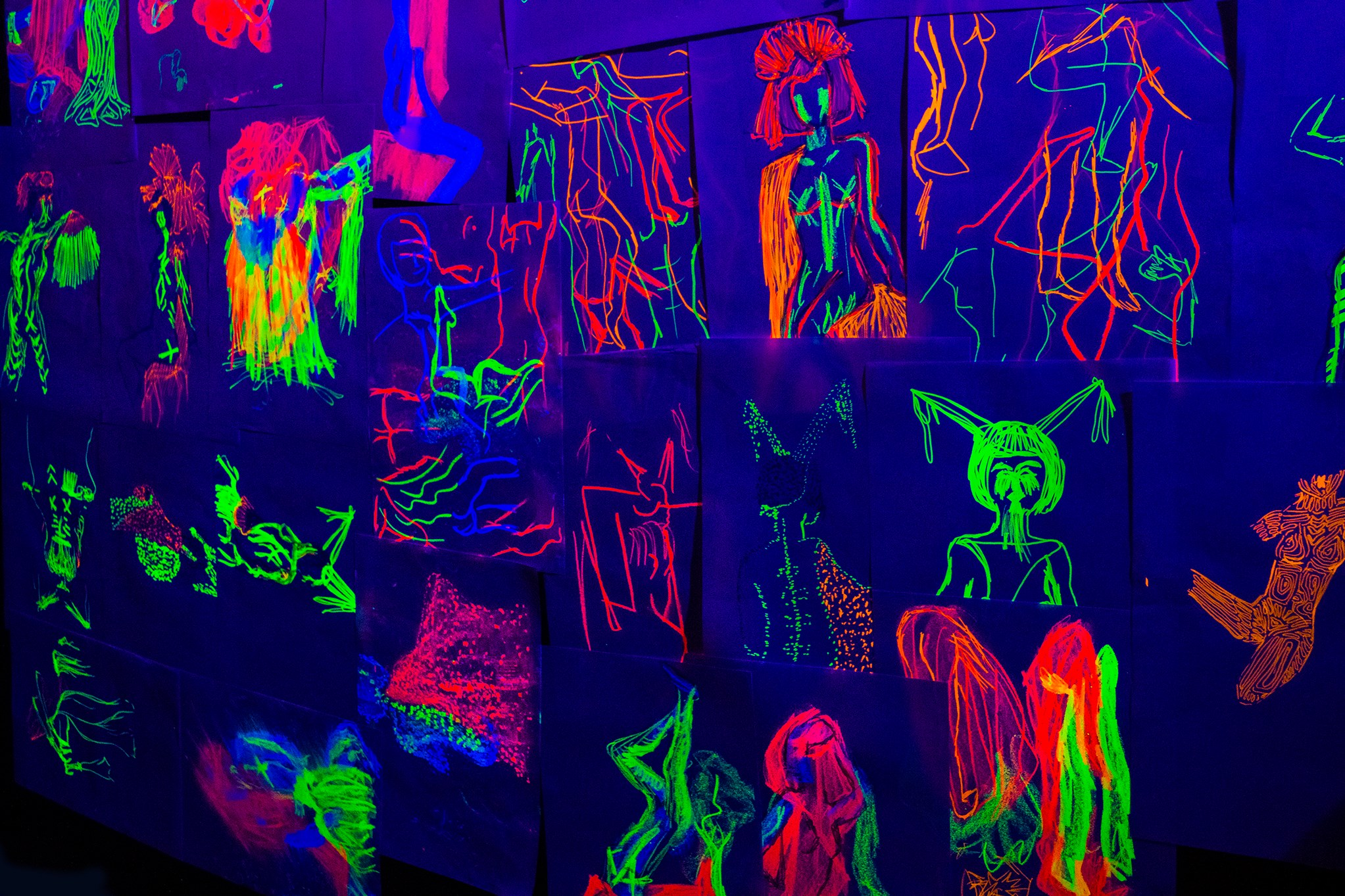 Naked Neon Drawings