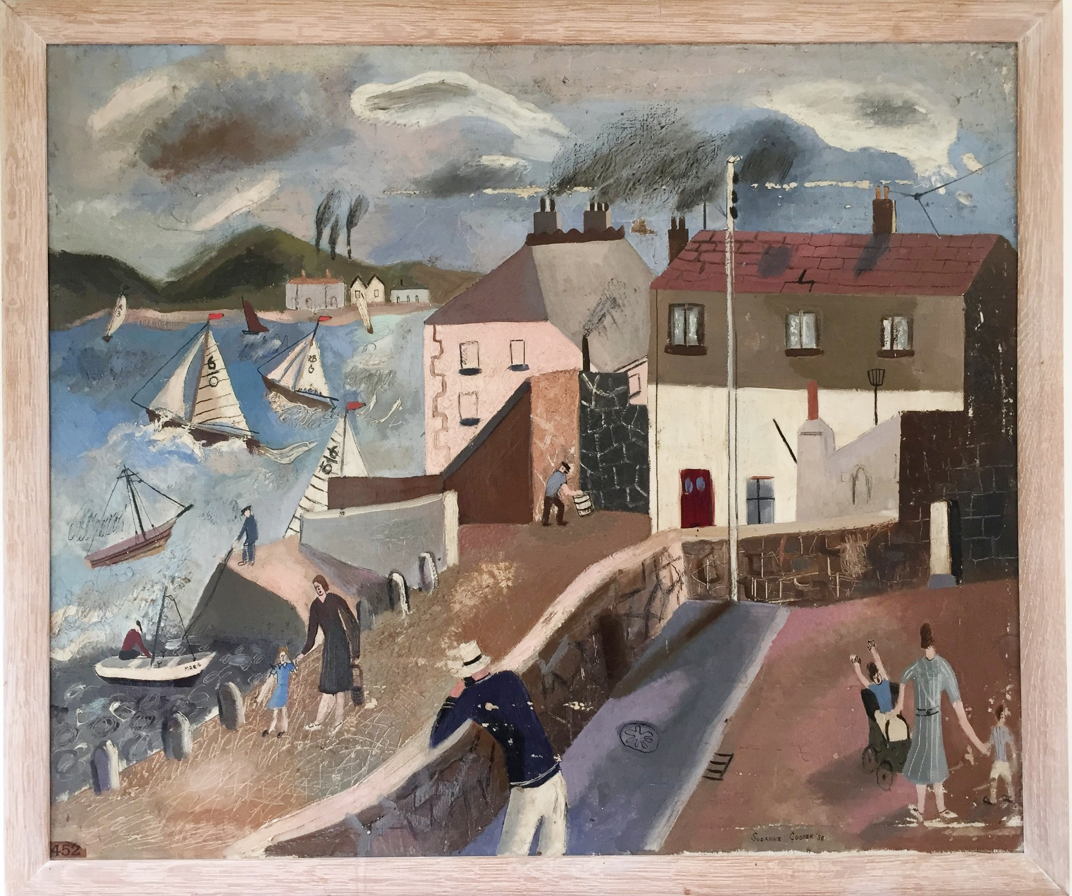 Appledore - Shown with The National Society of Painters, Sculptors and Wood Engravers at the Royal Institute Galleries, Piccadillysigned and dated 1938oil on canvas - 63 x 76 cmsAppledore is a fishing village in Devon. Suzanne Cooper would have visited it while staying with her grandparents. Her grandfather was mayor of Torquay.The child with upflung arms recurs in several of her pictures.