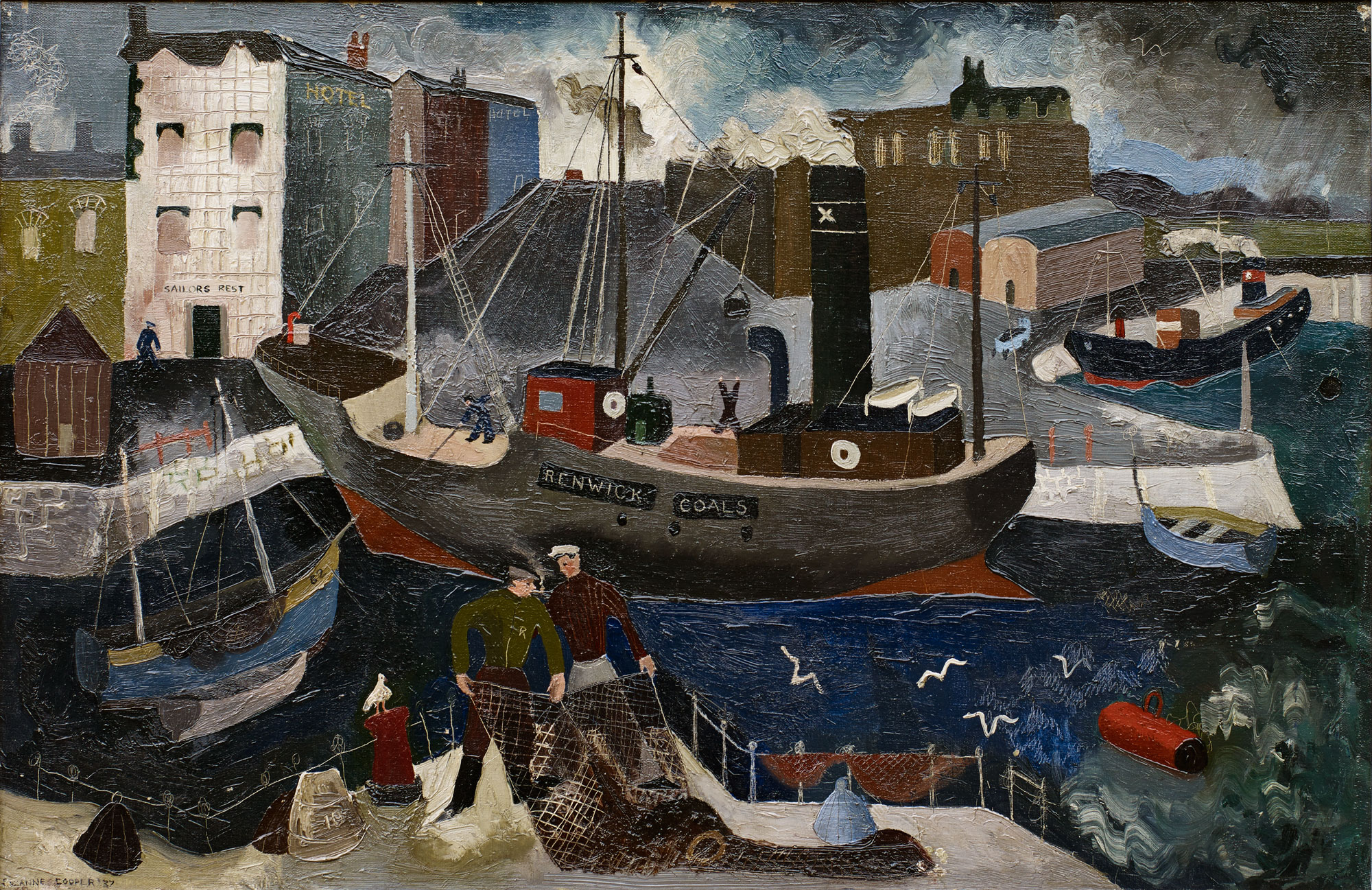Renwick Coals   Cooper's harbour-scenes show the influence of Christopher Wood, a near-contemporary whose work she admired.