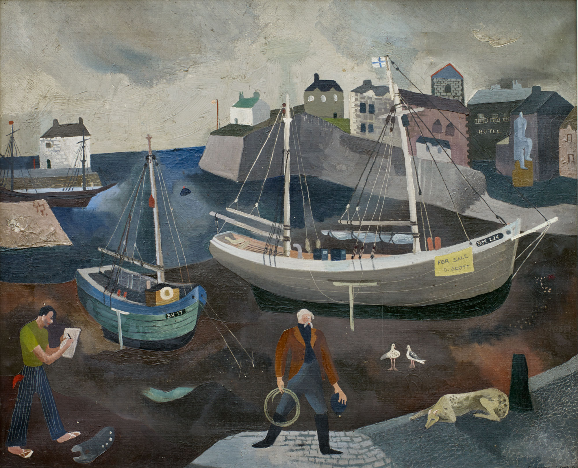 Brixham Harbour   Brixham is another Devon port that Cooper visited when holidaying with her grandparents. It is telling that the painter in the lower left of the picture is male, a reminder of how hard it was for women of Cooper's generation to identify themselves as artists.