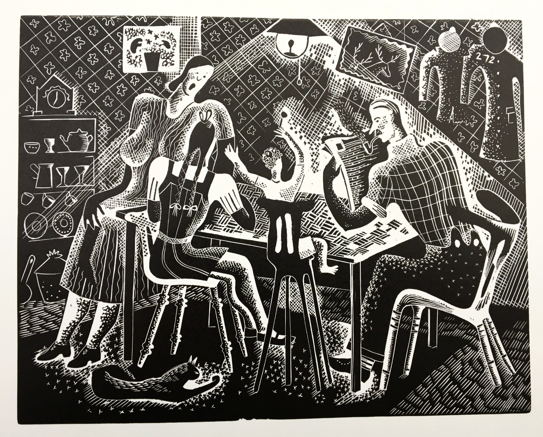 The Busman's Holiday - wood engraving 14 cms x 18 cmsA domestic scene infused with vitality by the tilting lines and gesticulating figures. Even the cat is on the alert.£195