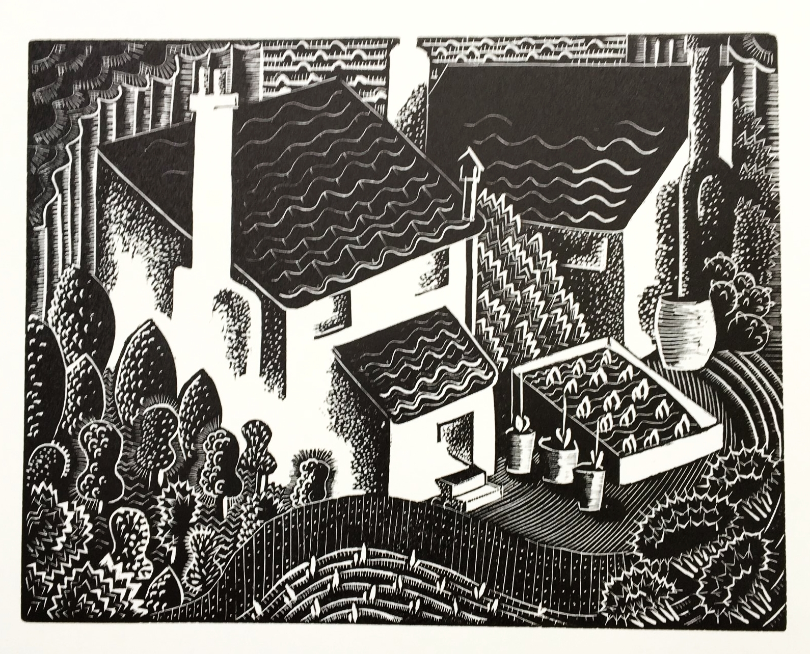 Back Gardens - wood engraving 10.5 x 14 cmsIain Macnab inscribed a copy of his book on wood-engraving to Cooper, with the words 'From one wood-pecker to another'. This small image, with its complex geometry and wonderful variety of marks, demonstrates her remarkable command of the difficult medium.£150