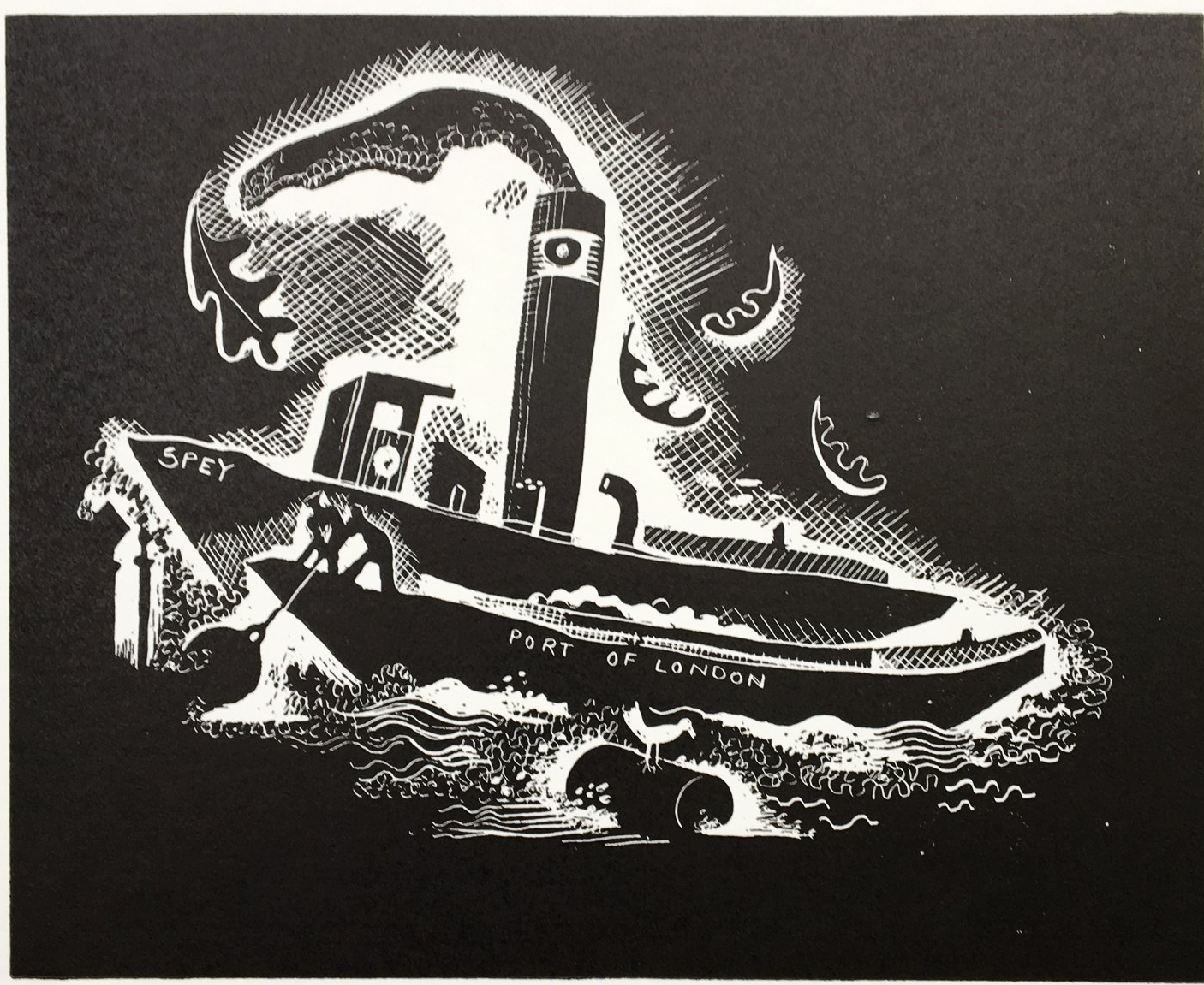 Thames Boat - line block print 11 x 14 cmsThis line-block print is a simplified version of the oil painting of the same name.£120
