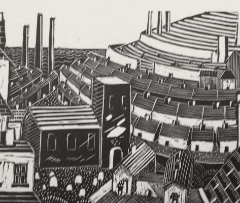 Chimneys - wood engraving 8 x 10 cmsThis townscape strongly recalls the work of Suzanne Cooper's mentor, Ian Macnab, master wood-engraver and founder of the Grosvenor School.£150