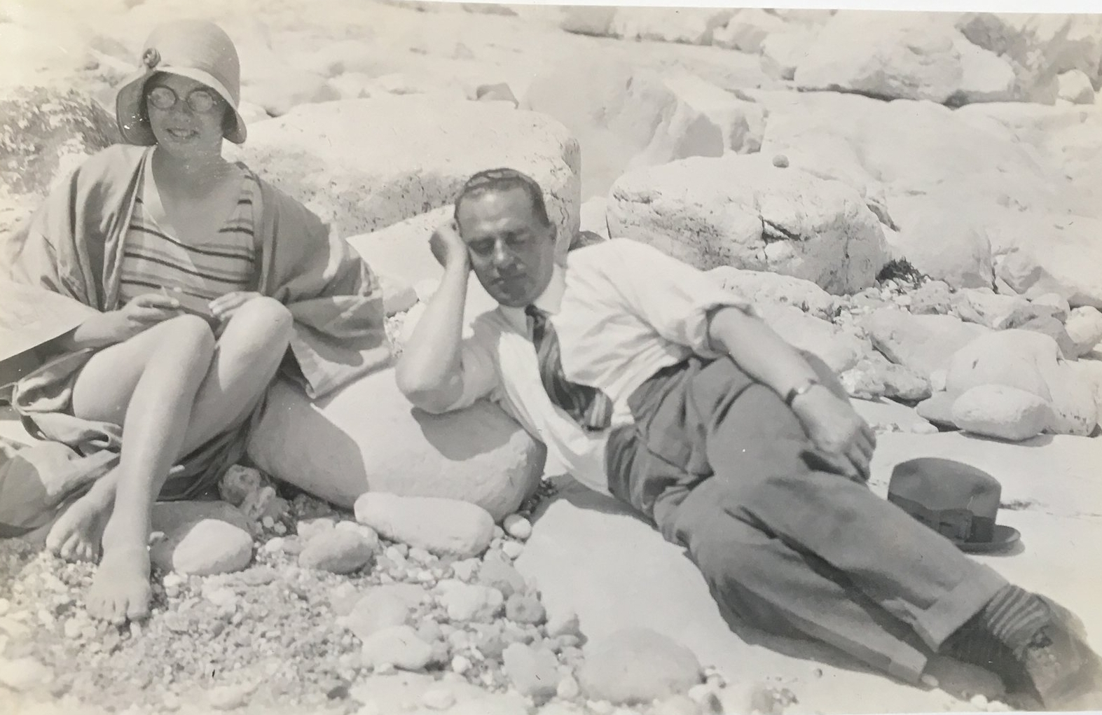 1930 - Aged fourteen, on the beach with her father