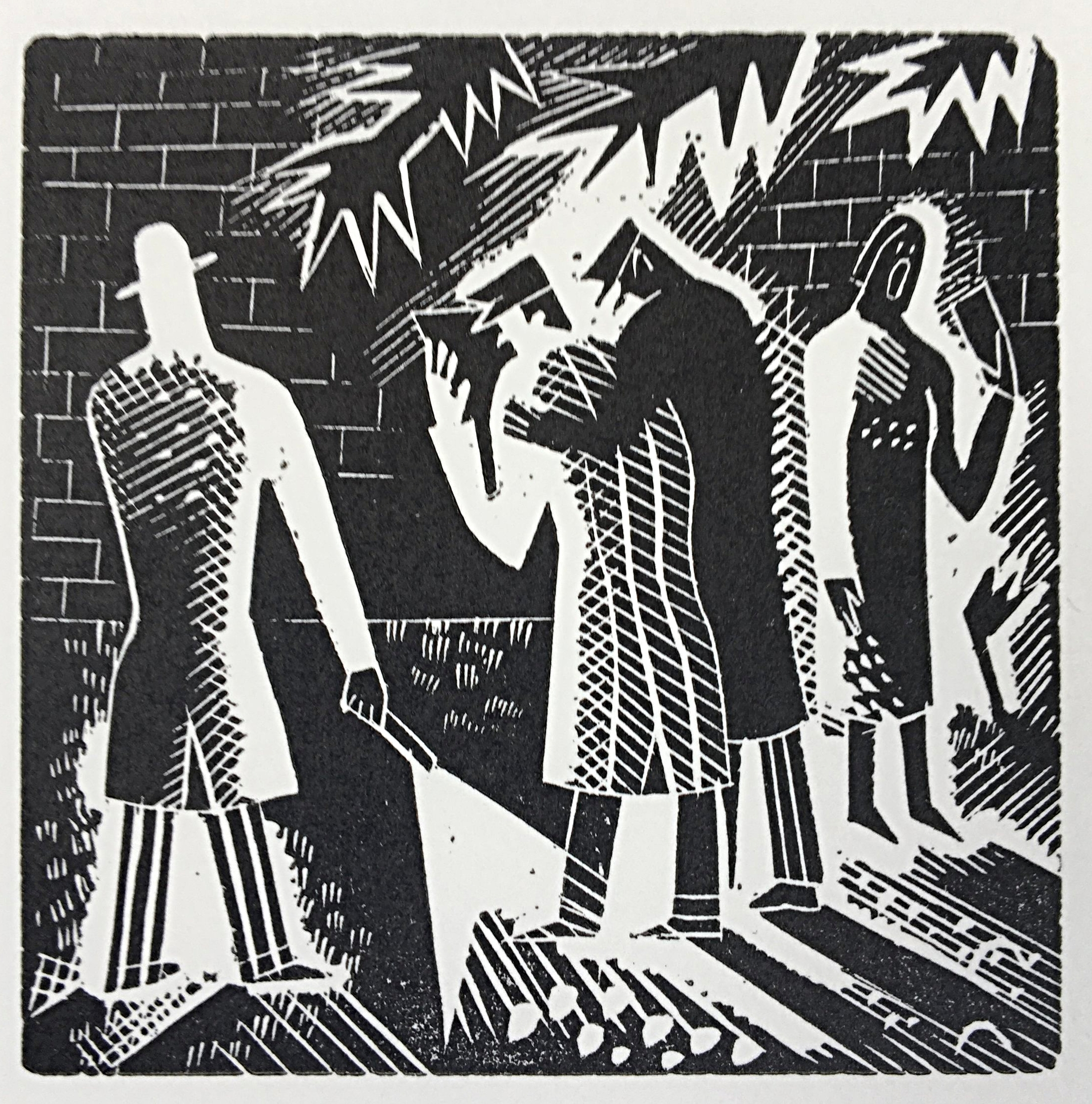 Carol Singers II - Wood engraving 4.2 x 2.97 cmsAn image closely related to the wood-engraving 'Carol Singers I'Cooper's ability to produce fine work on such a tiny scale is all the more remarkable for the fact that her eyesight was terrible. She never took her glasses off, even on her wedding day. As a young girl, bicycling through Frinton, she once rode down a policeman, mistaking him for a bollard.£120