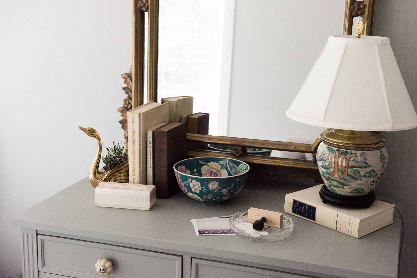 Asian Bowl + Mirror + Painted desk/side table