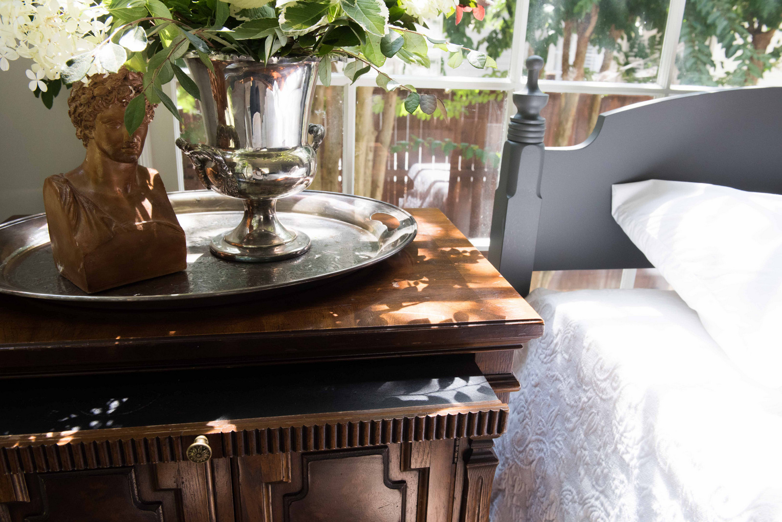 Side Table + Silver Tray + Bed