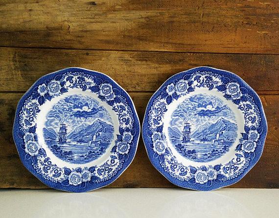 Vintage Blue Toile Plate