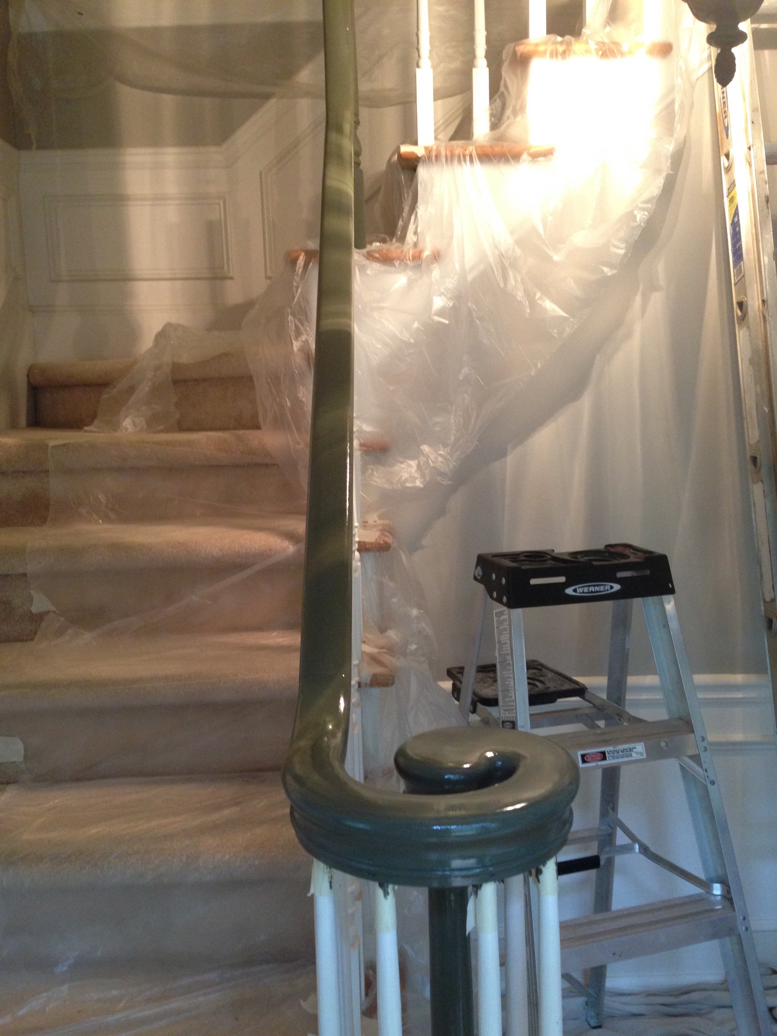 Even the Banister got a makeover!  - (Twice because the first coat was GREEN.  UGH!)
