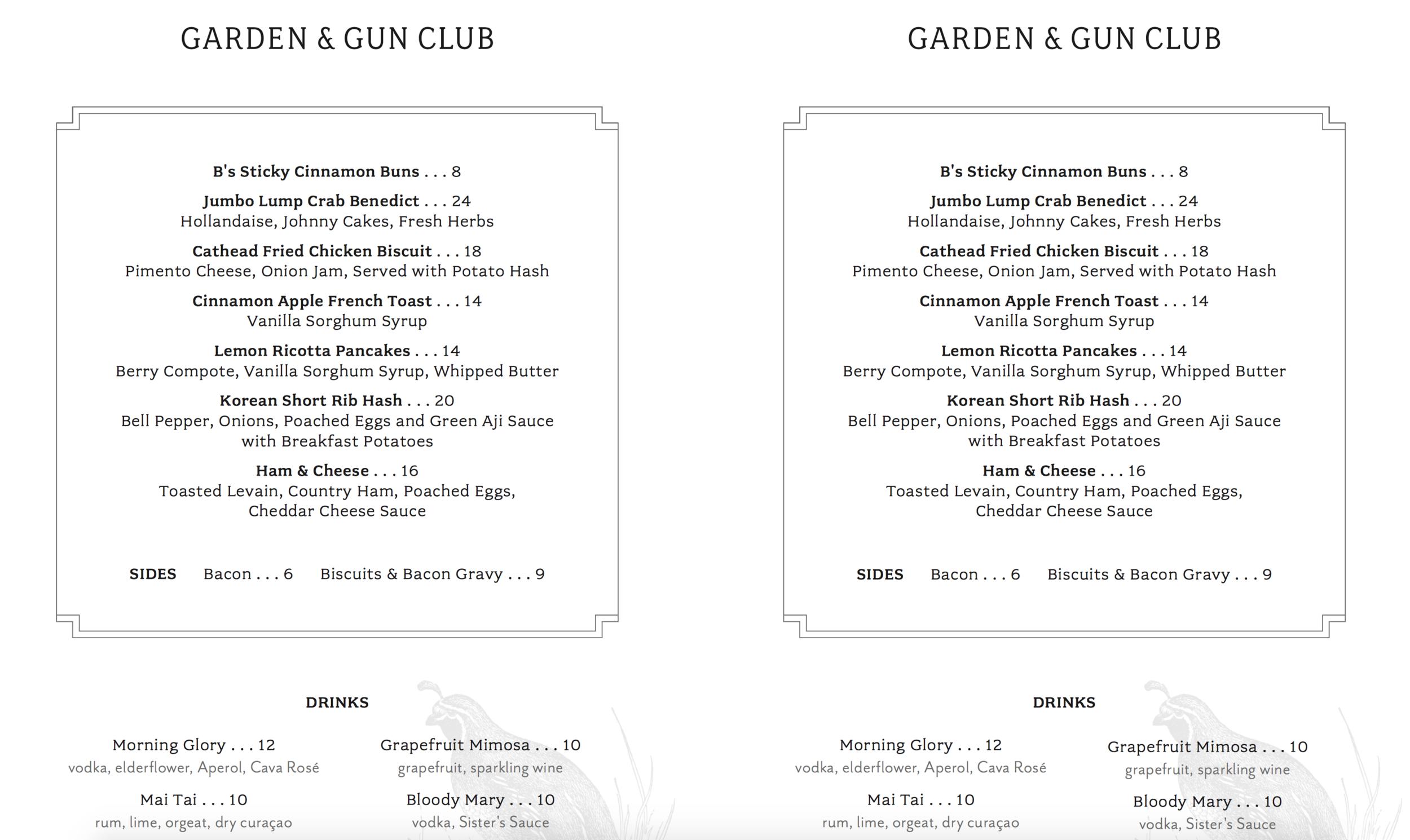 Garden and Gun Club Menu | House of Valentina