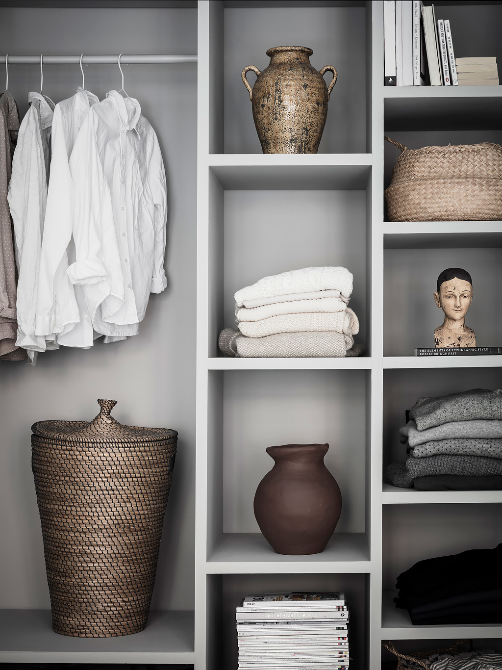 Display art among your clothing to create a lux feel.