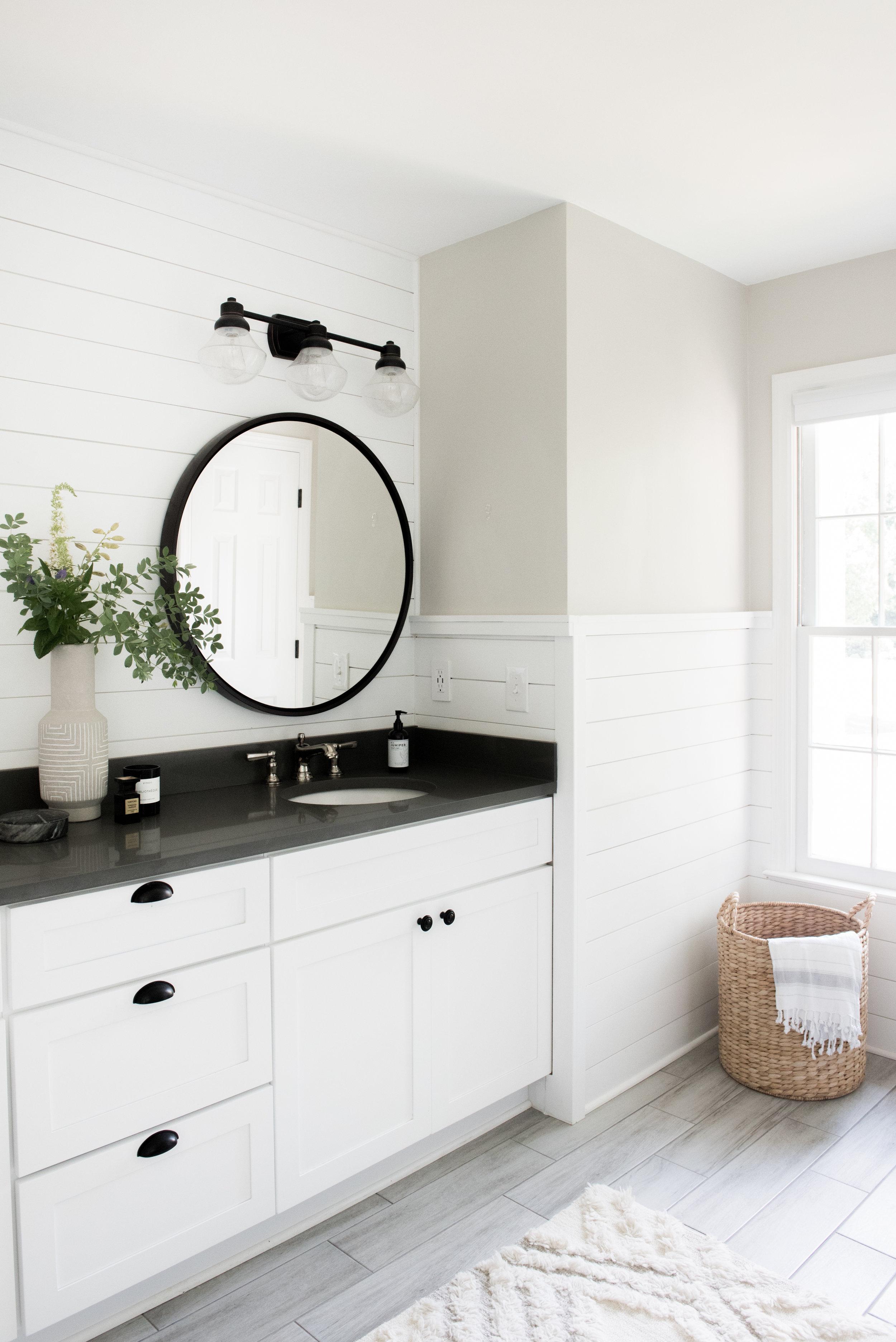 Modern Cozy Farmhouse Master Bathroom Renovation Styling On A Budget House Of Valentina