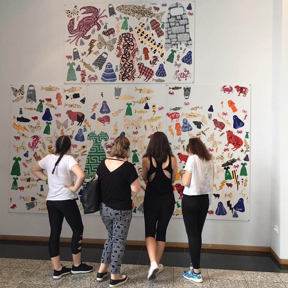 Photograph from the 'Make Your Mark' Live Art Installation for the 'Current' Exhibition at Otago Museum, Dunedin, 2017.