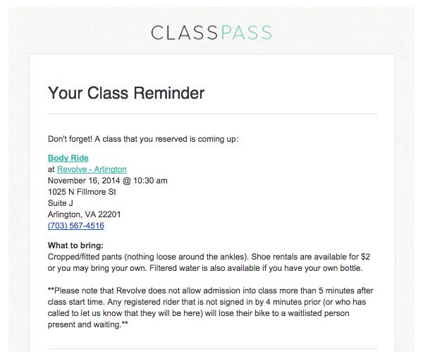 ClassPass Reminder