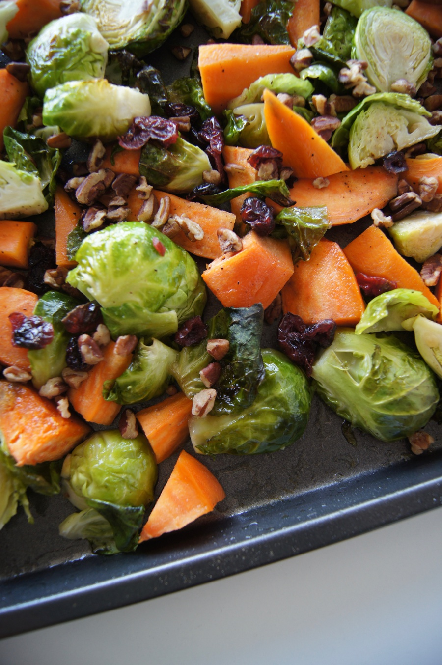 Maple Cranberry Pecan Brussel Sprouts & Sweet Potato Side Dish