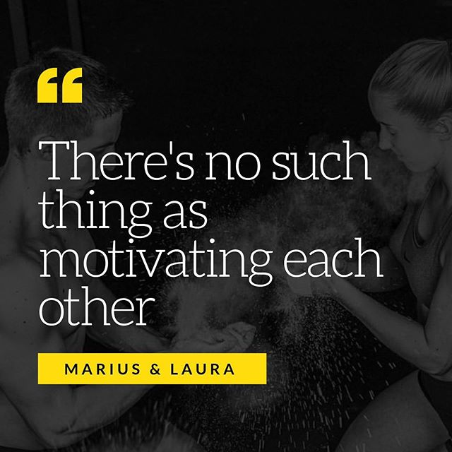 """As we countdown the Top 10 lessons we've learned from our interviewees, this tidbit from our German friends really hits home! ⠀⠀⠀⠀⠀⠀⠀⠀⠀ Aaron and I laugh thinking back on the confusion in their voices when we asked the question about motivating each other. ⠀⠀⠀⠀⠀⠀⠀⠀⠀ ⠀⠀⠀⠀⠀⠀⠀⠀⠀ """"Motivate?!"""" 🤔 ⠀⠀⠀⠀⠀⠀⠀⠀⠀ """"What is this to motivate each other?"""" 🤔 ⠀⠀⠀⠀⠀⠀⠀⠀⠀ See, there's no such thing for them. They're both *already* """"motivated,"""" they both love the sport, they both want to be there and want to get better! There's no pushing or prodding— it's a shared passion, it's fun, and the motivation comes from WITHIN, not from their spouse or mate! ⠀⠀⠀⠀⠀⠀⠀⠀⠀ I (Sara) have been known to seek motivation from others, and especially from Aaron! But I've learned too, I can't rely on him to get me there, to do the work, or put in the time! He can motivate me in a sense of encouraging and helping and reminding me of what I'm capable of,  but true motivation comes from within! #amiright? ⠀⠀⠀⠀⠀⠀⠀⠀⠀ Are you a person whose looked to your partner to motivate you? What are the ways in which you truly feel motivated, outside what your spouse says or does! Thanks for this insight @crossfitterer @vivienlaura @crossfit227 👏🏻👏🏻👏🏻"""