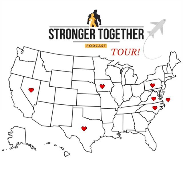 We joke about this with all our interviewees but we are SO serious about taking this podcast on the road for a #strongetogethertour! 🙌🏻 Wouldn't it be so fun to see where the couples we interviewed are now, drop in at their gyms (or home gyms!) and bring you along for the fun via some vlogging!?! HELL YEA right!?! Look how many states we found with Stronger Together couples already, and we're just getting started! 💪🏻❤️💪🏻 When we hit all 50 it'll be time to start planning that roadtrip/tour! 🎊😆🚗💨✨