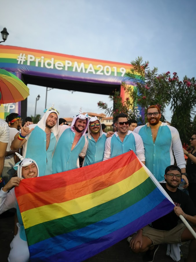 La marcha del orgullo, por la defensa de los derechos LGTBI+ en Casco, 2019.