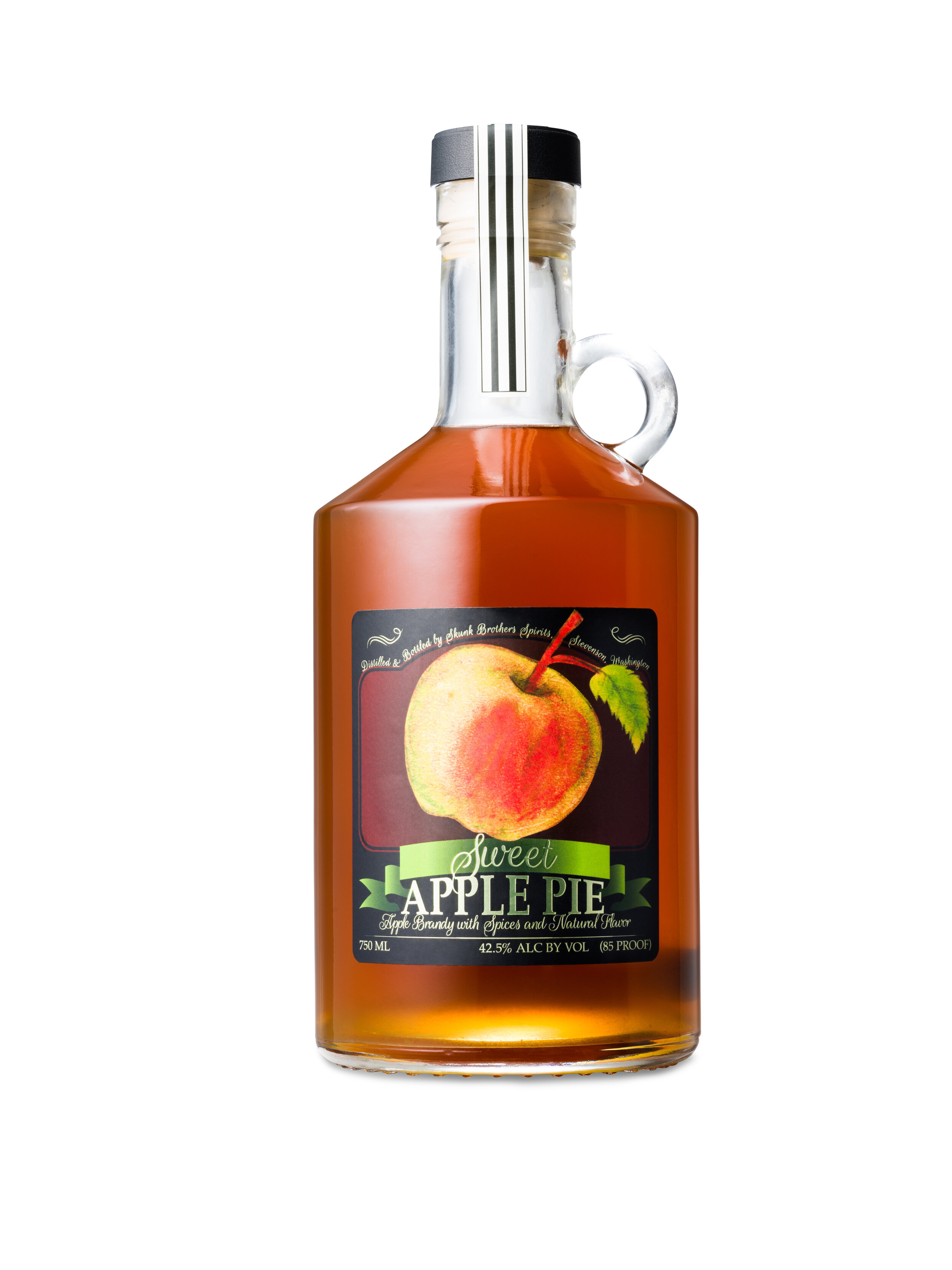Apple Pie Brandy - 85 Proof / 750 ml & 375 mlSome may say this is not your grandmother's apple pie… well it is our grandfather's recipe that he handed down to us. We changed it up a little by making it with our own apple brandy, blended with Washington apple cider, Washington honey and brown sugar. We spice it up with cinnamon, cloves and pie spices, and a cinnamon stick added to each bottle.We like this heated up in hot cider on a cold day or pour a little over ice or into your hard cider on a hot day. Also makes a great secret ingredient to barbeque sau