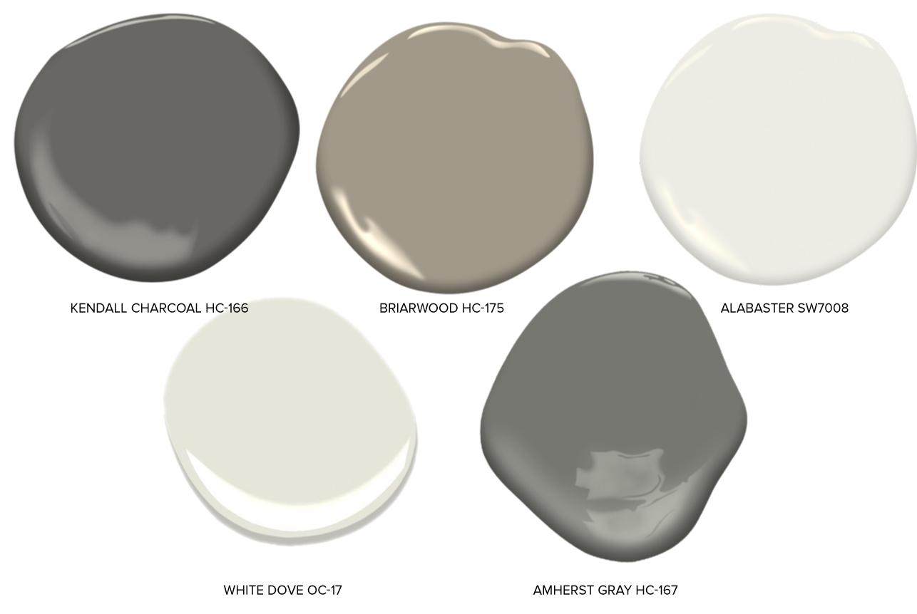 Exterior Main Body Colors - Benjamin Moore Kendall Charcoal HC-166Benjamin Moore Briarwood HC-175Sherwin Williams Alabaster SW7008Benjamin Moore White Dove OC-17Benjamin Moore Amherst Gray HC-167