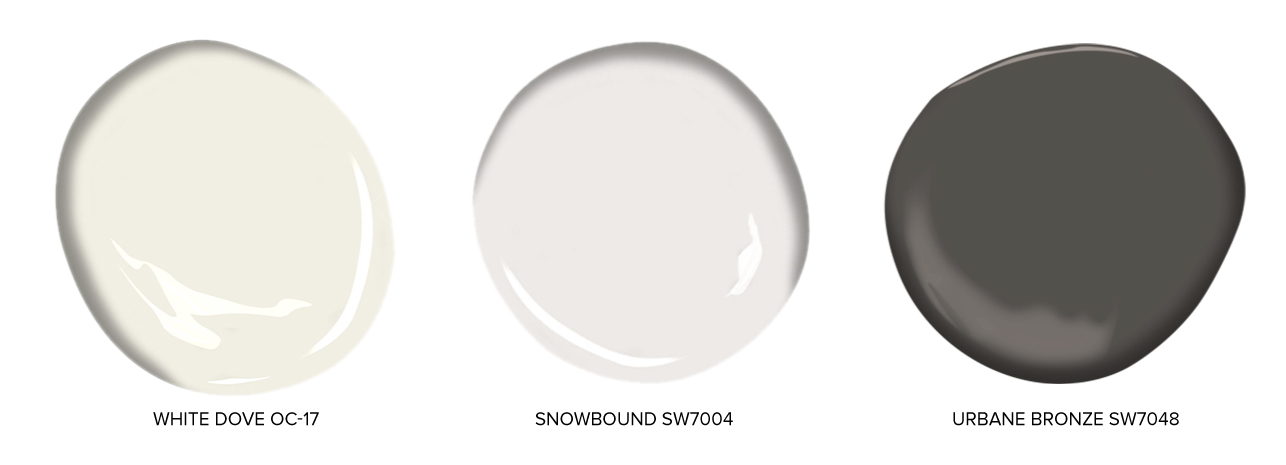 Exterior Trim Colors - Benjamin Moore White Dove OC-17Sherwin Williams Snowbound SW 7004Sherwin Williams Urbane Bronze SW 7048