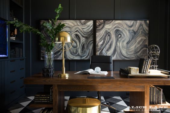 Utah Style & Design  uses art and tradition for this home office.