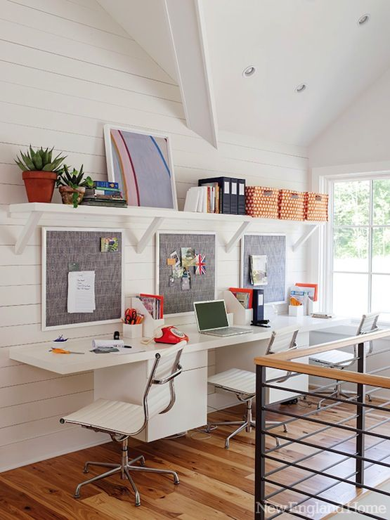 Two people can study or work easily in this hallway workspace from  Ashton Woods