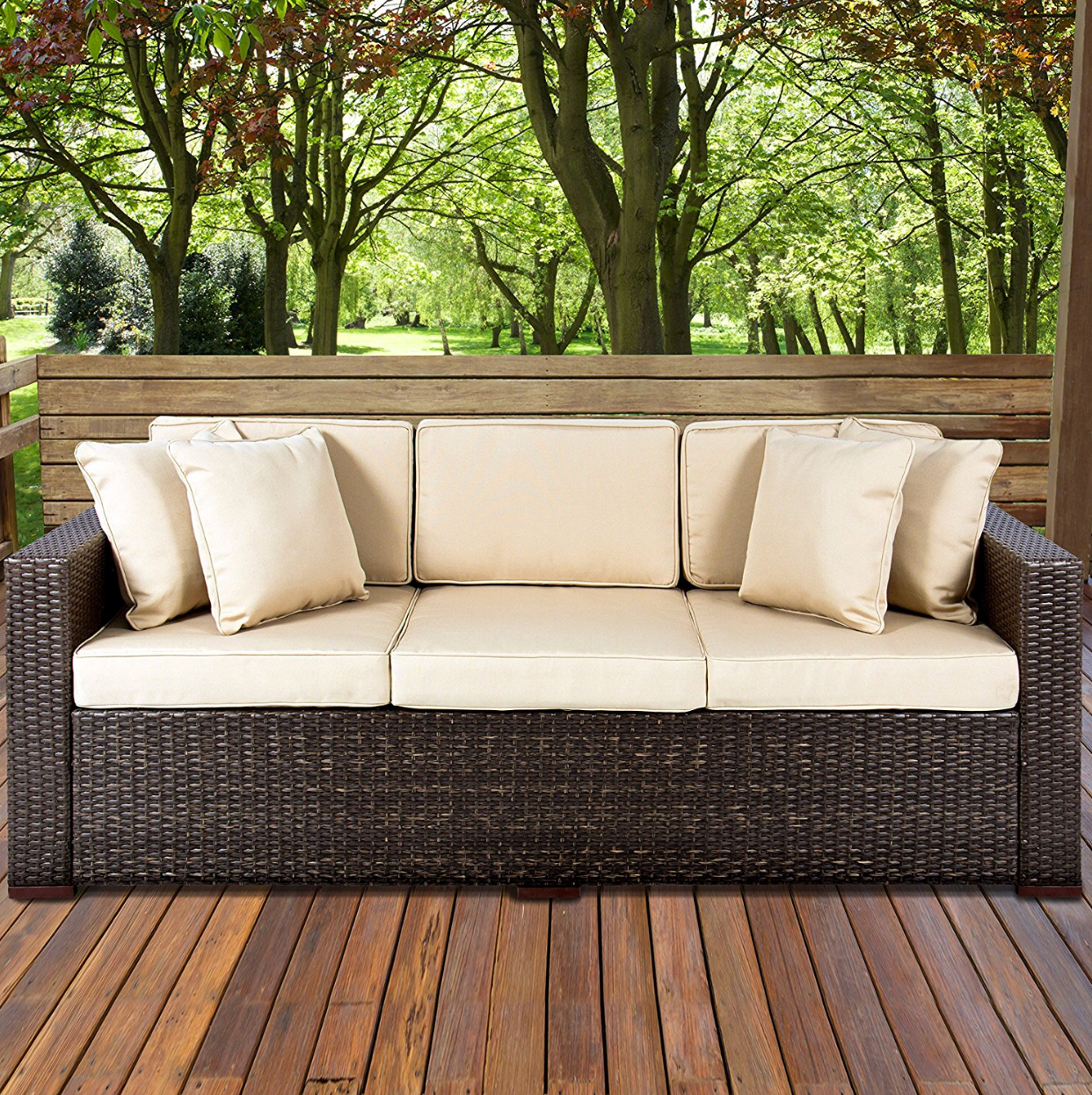 3-Seat Outdoor Wicker Sofa - by Best Choice Products at Amazon.com
