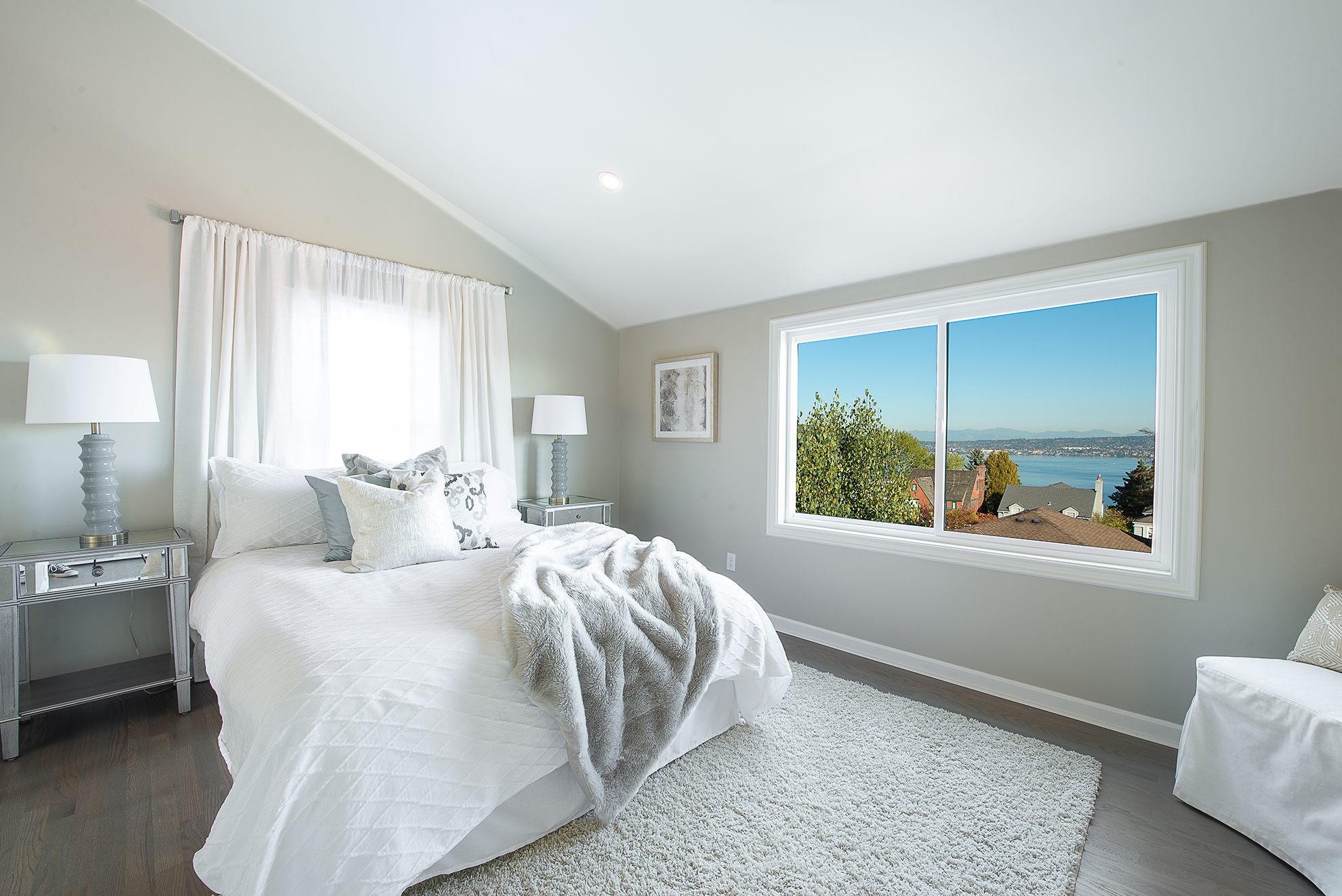 This bedroom feels twice the size with the addition of vaulted ceilings.