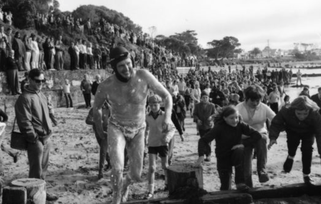 In 1971,  Doug Mew  became the first person on record to swim the infamous Rip. This is him setting off from Point Lonsdale beach on a winter day in June!