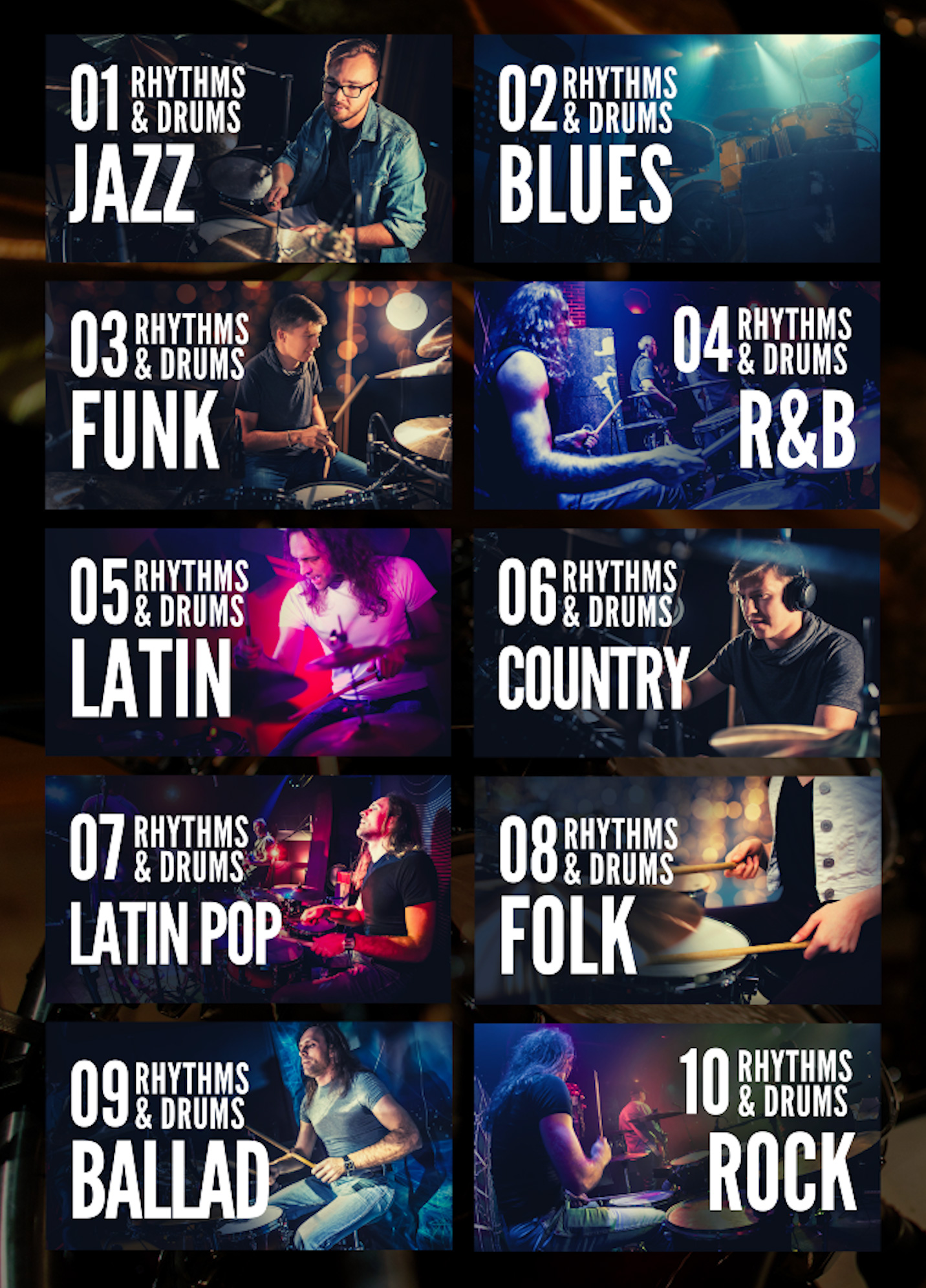DRUMS JAZZ BACKING TRACK LIST